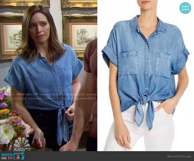 Tie-Front Chambray Shirt by Bella Dahl worn by Gwen Rizczech (Emily O'Brien) on Days of our Lives