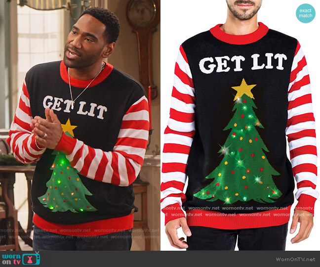 Light up Christmas Sweater by Tipsy Elves worn by Moz McKellan (Anthony Alabi) on Family Reunion