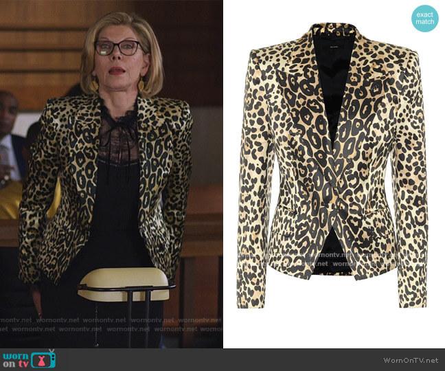 Leopard-print cotton-blend blazer by Tom Ford worn by Diane Lockhart (Christine Baranski) on The Good Fight