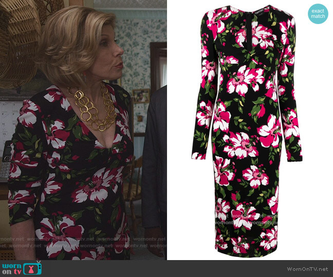 Floral-print mid-length dress by Tom Ford worn by Diane Lockhart (Christine Baranski) on The Good Fight