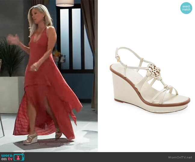 Miller Knotted Wedge Sandal by Tory Burch worn by Carly Corinthos (Laura Wright) on General Hospital