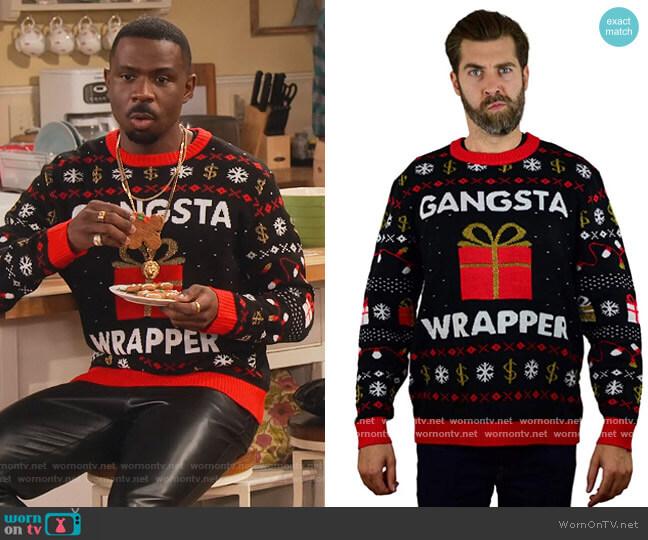 Ugly Christmas Sweater Festive Embellished Holiday Sweater by Tstars worn by Daniel (Warren Burke) on Family Reunion