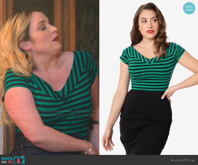 Stripe Deena Top by Unique Vintage worn by Davia (Emma Hunton) on Good Trouble