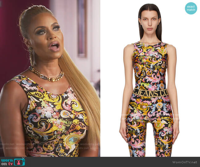 Black Versailles Bodysuit by Versace Jeans Couture worn by Gizelle Bryant  on The Real Housewives of Potomac
