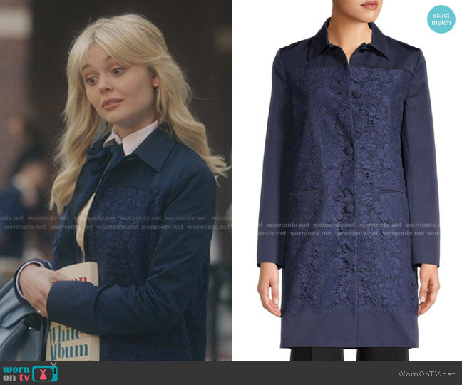 Lace-Paneled Coat by Valentino worn by Audrey Hope (Emily Alyn Lind) on Gossip Girl