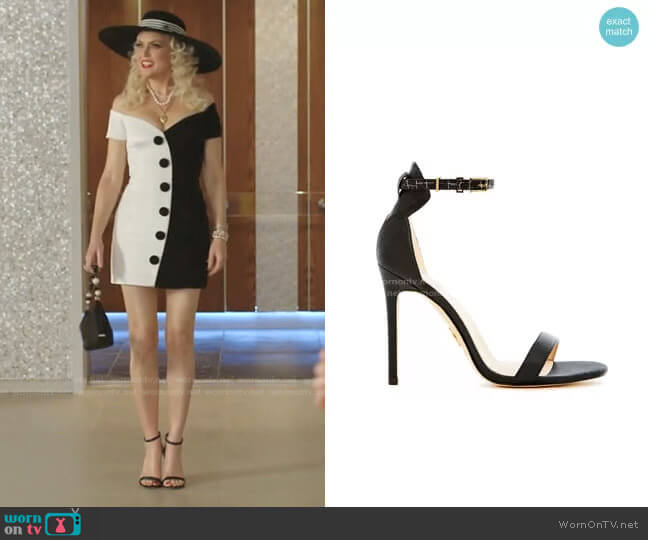 Venus Sandals by Veerah worn by Alexis Carrington (Elaine Hendrix) on Dynasty