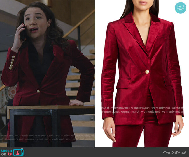 Long And Lean Velvet Dickey Jacket by Veronica Beard worn by Marissa Gold (Sarah Steele) on The Good Fight