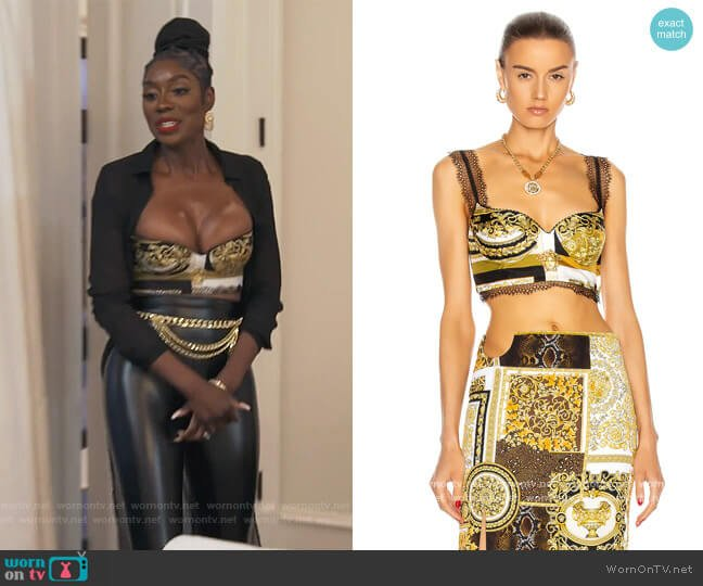 Barocco Lace Bra Top by Versace worn by Wendy Osefo  on The Real Housewives of Potomac
