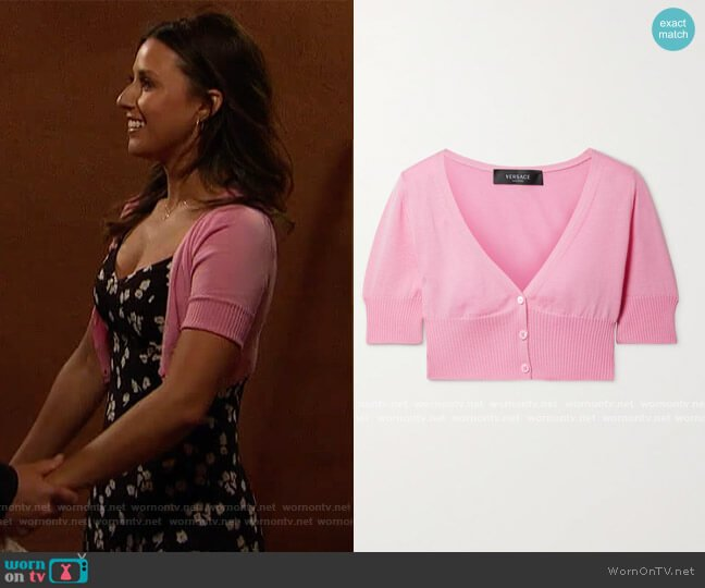 Cropped wool cardigan by Versace worn by Katie Thurston  on The Bachelorette