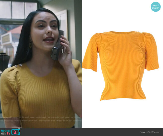 Ribbed Short Sleeve Sweater by Vicolo worn by Veronica Lodge (Camila Mendes) on Riverdale