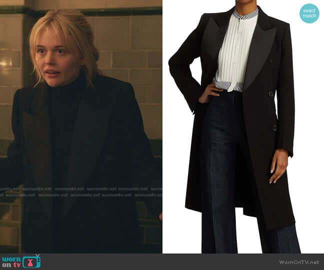 Double Breasted Tuxedo Wool Coat by Victoria Beckham worn by Audrey Hope (Emily Alyn Lind) on Gossip Girl