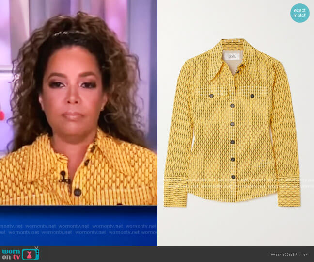 Perforated cotton-blend shirt by Victoria Victoria Beckham worn by Sunny Hostin  on The View