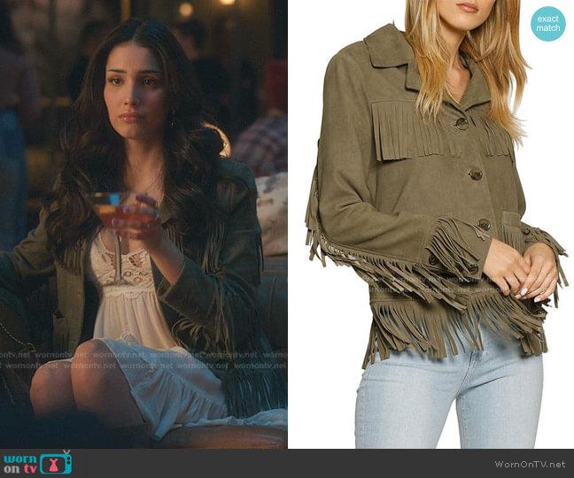 Fringed suede jacket by Walter Baker worn by Luna La (Zión Moreno) on Gossip Girl