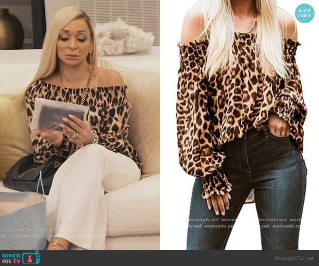 Leopard Off Shoulder Top by Zanzea at Amazon worn by Karen Huger  on The Real Housewives of Potomac