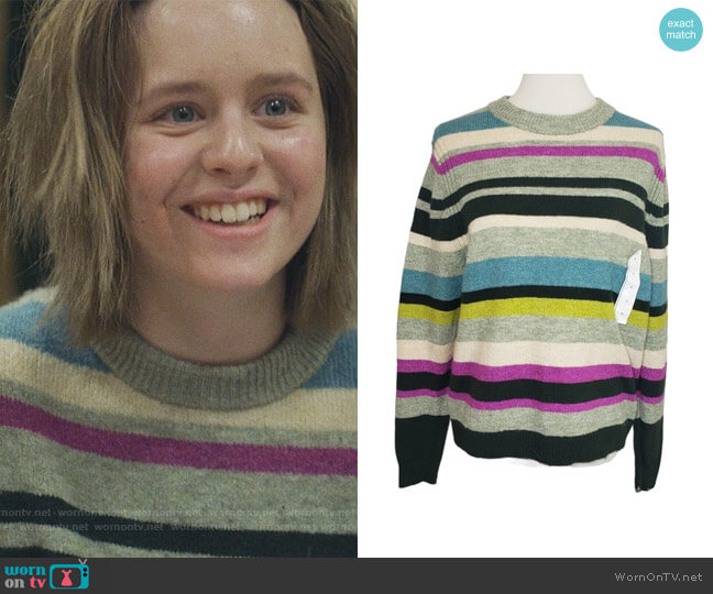 Green Striped Pullover Crew Neck Sweater by A New Day worn by Lulu Wilson on Modern Love