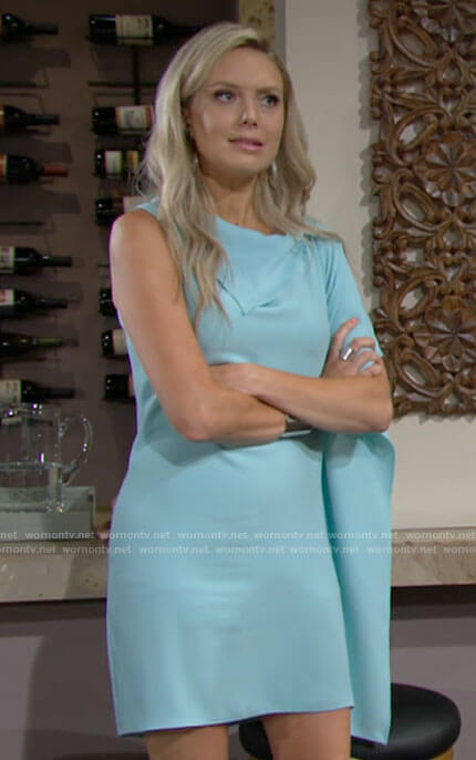 Abby's light blue asymmetric sleeve dress on The Young and the Restless