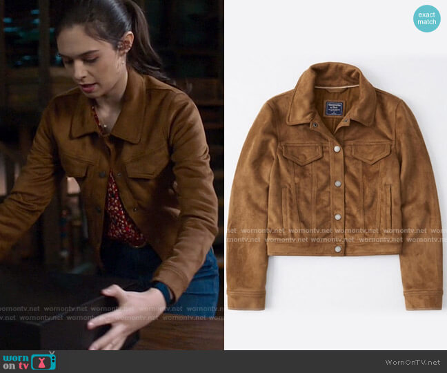 Abercrombie Faux Suede Trucker Jacket worn by Nia Nal (Nicole Maines) on Supergirl
