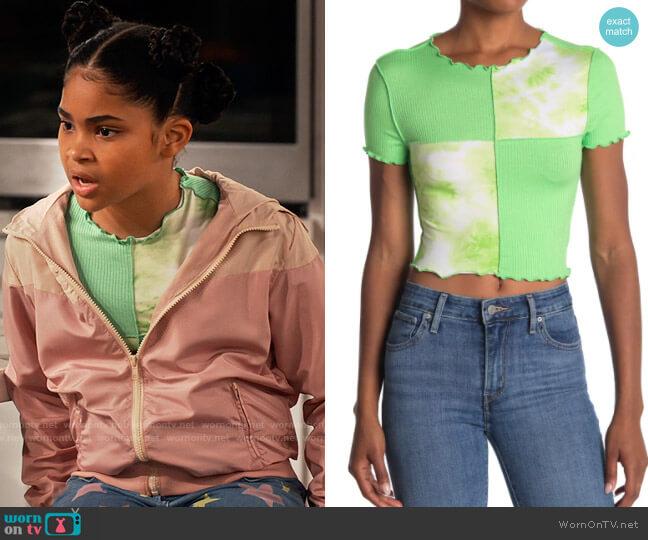 Abound Tie Dye Colorblock Lettuce Edge Shirt worn by Millicent (Jaidyn Triplett) on iCarly