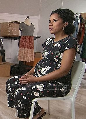 Adriana Diaz's floral maternity jumpsuit on CBS This Morning