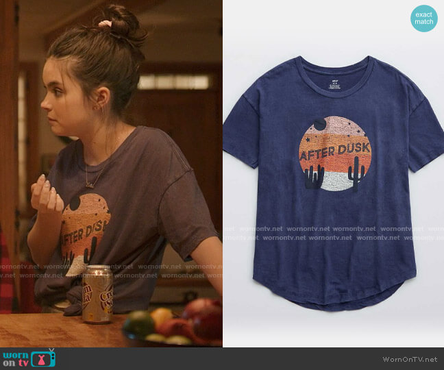 American Eagle Aerie Distressed Boyfriend T-Shirt worn by Bella Whitmore (Landry Bender) on The Republic of Sarah