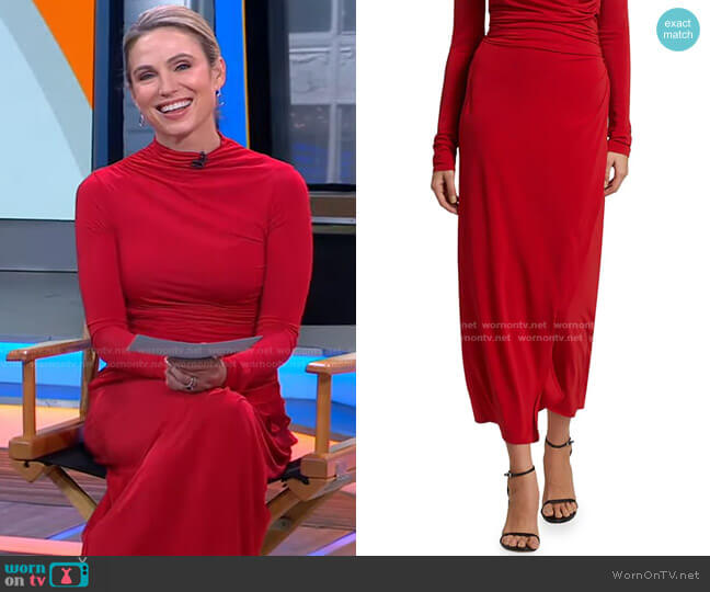 Skylar Ruched Jersey Skirt by A.L.C. worn by Amy Robach  on Good Morning America