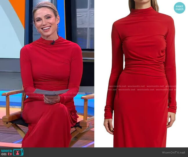 Skylar Ruched Jersey Top by A.L.C. worn by Amy Robach  on Good Morning America