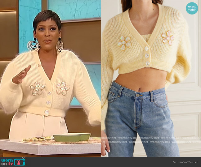 Cropped embellished mohair-blend cardigan by Alessandra Rich worn by Tamron Hall  on Tamron Hall Show