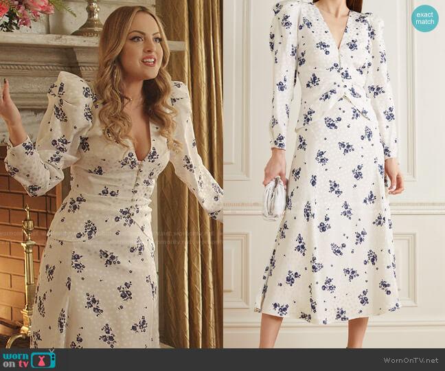 Floral-Print Silk-Jacquard Jacket and Midi Skirt by Alessandra Rich worn by Fallon Carrington (Elizabeth Gillies) on Dynasty