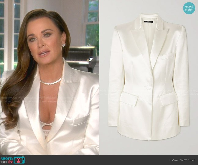 Banks Duchesse-Satin Blazer by Alex Perry worn by Kyle Richards  on The Real Housewives of Beverly Hills