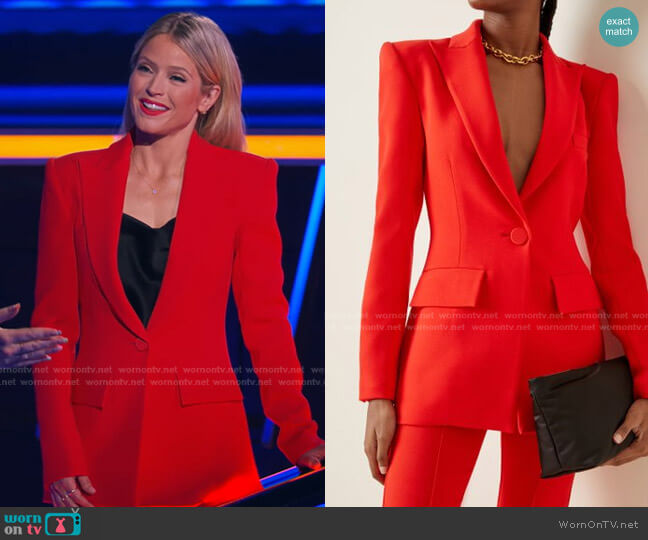 Alex Stretch-Crepe Blazer by Alex Perry worn by Sara Haines  on The Chase