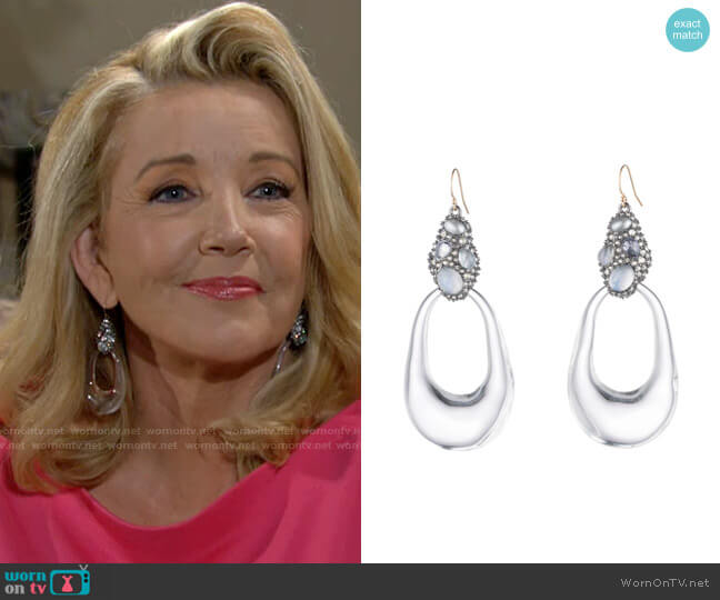 Alexis Bittar Stone Cluster Link Earrings worn by Nikki Reed Newman (Melody Thomas-Scott) on The Young & the Restless