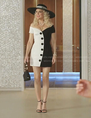 Alexis's black and white off-shoulder mini dress on Dynasty