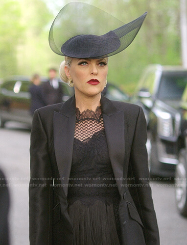Alexis's black lace dress and sheer blazer jacket on Dynasty