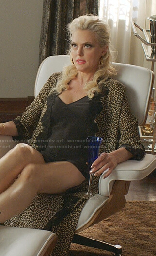 Alexis's leopard lace-trim robe on Dynasty