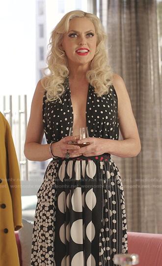 Alexis's mixed polka dot halter dress on Dynasty