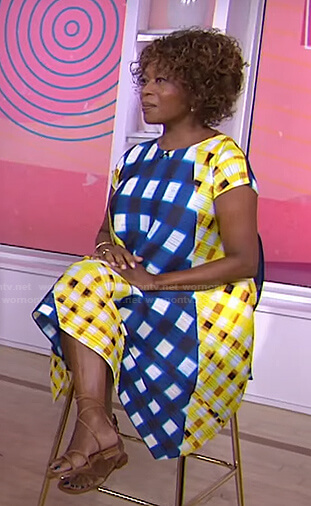 Alfre Woodard's mixed check print dress on Today