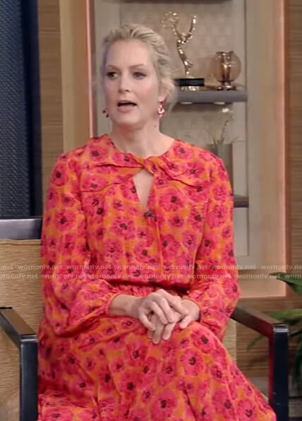Ali Wentworth's pink and orange floral dress on Live with Kelly and Ryan