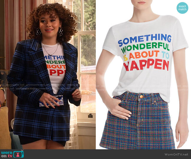 Cicely Graphic Tee by Alice + Olivia worn by Jade (Talia Jackson) on Family Reunion