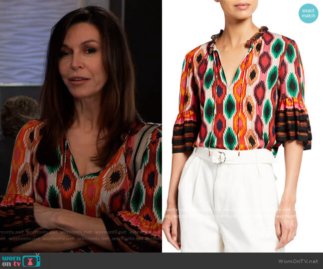 Julius Tiered Sleeve Top by Alice + Olivia worn by Ava Jerome (Maura West) on General Hospital