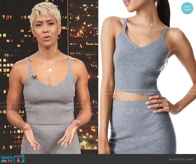 Kenna Sweater Knit Crop Camisole by Alice + Olivia worn by Sibley Scoles  on Access Hollywood