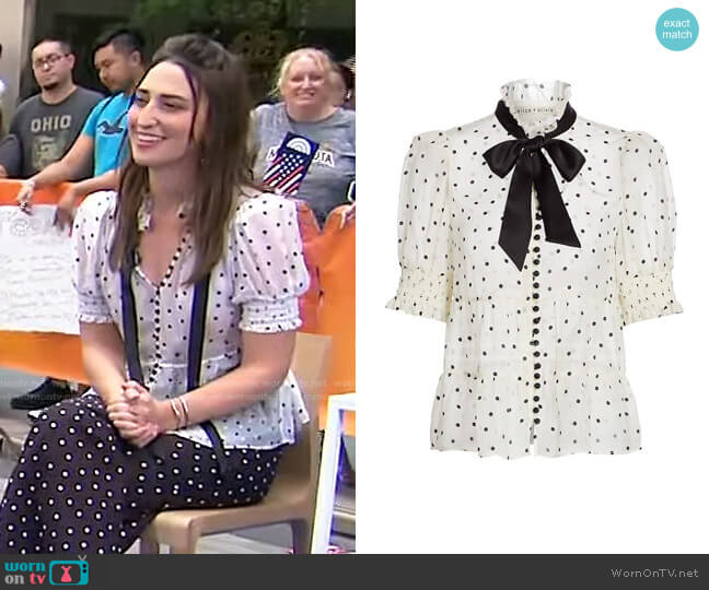 Vicky Tie Neck Blouse by Alice + Olivia worn by Sara Bareilles on Today