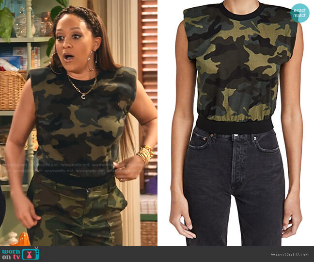 Kendrick Strong Shoulder Top by Alice + Olivia worn by Cocoa McKellan (Tia Mowry-Hardrict) on Family Reunion