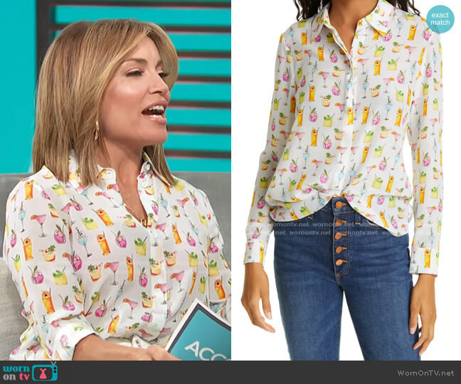 Willa Cocktails Print Silk Blouse by Alice + Olivia worn by Kit Hoover  on Access Hollywood