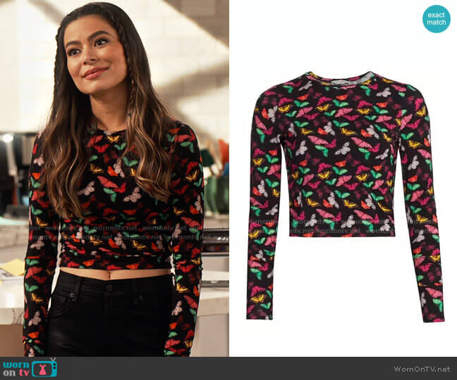 Alice + Olivia Delaina Butterfly Top worn by Carly Shay (Miranda Cosgrove) on iCarly
