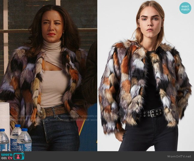 All Saints Fifi Faux Fur Patch Jacket worn by Maria DeLuca (Heather Hemmens) on Roswell New Mexico