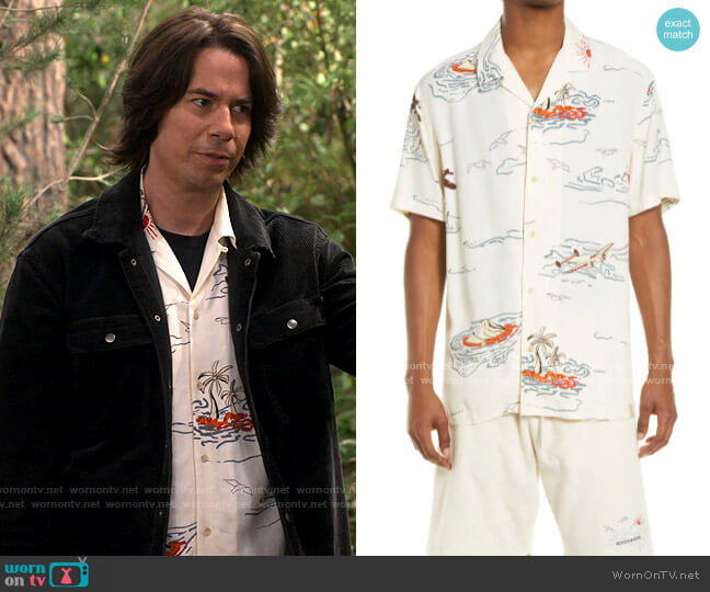 Scotch & Soda Hawaii Print Short Sleeve Button-Up Camp Shirt worn by Spencer Shay (Jerry Trainor) on iCarly