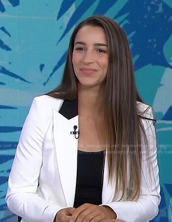 Aly Raisman's white chain detail blazer on Today