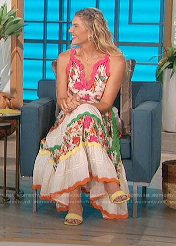 Amanda's floral scallop trim maxi dress on The Talk