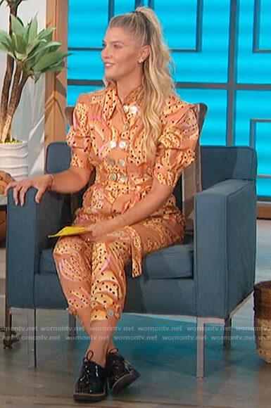 Amanda's banana printed jumpsuit on on The Talk