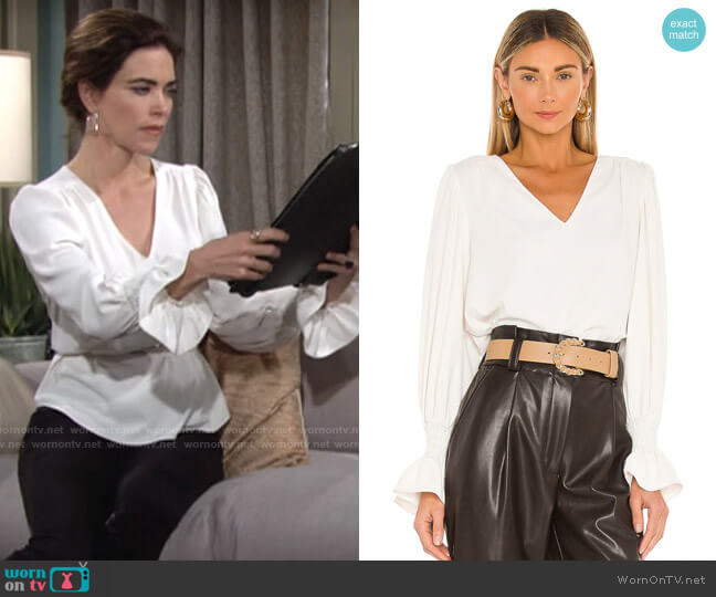 Amanda Uprichard Cressida Top in Ivory worn by Victoria Newman (Amelia Heinle) on The Young & the Restless